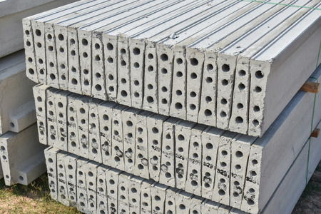 rigger: Stock of plank concrete precast at construction site