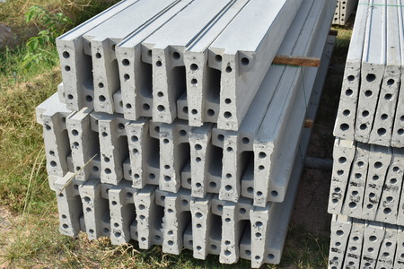 stacking: Plank concrete stacking in yard Stock Photo