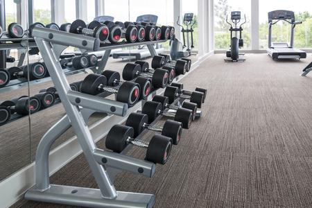 school gym: dumbbells in modern sports club. Weight Training Equipment Stock Photo