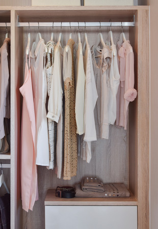 closet: modern closet with row of dresses hanging in wooden wardrobe