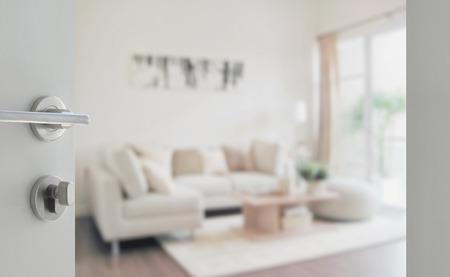 room door: opened white door to modern living room interior