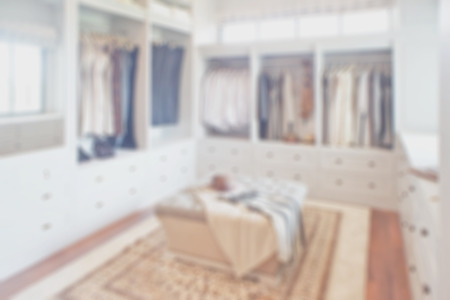 walk in closet: Blurred white walk in closet space Stock Photo