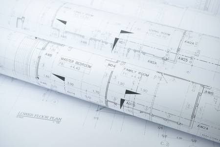structural engineers: architectural drawing paper rolls of a dwelling for construction