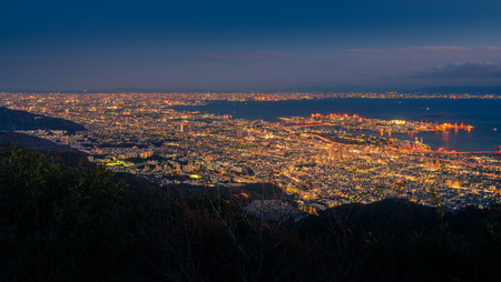 designated: View of several Japanese cities in the Kansai region from Mt. Maya. The view is designated a Ten Million Dollar Night View.