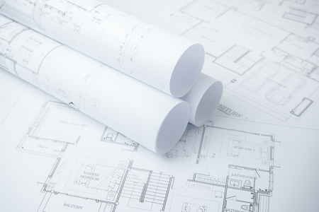 dwelling: architectural drawing paper rolls of a dwelling for construction