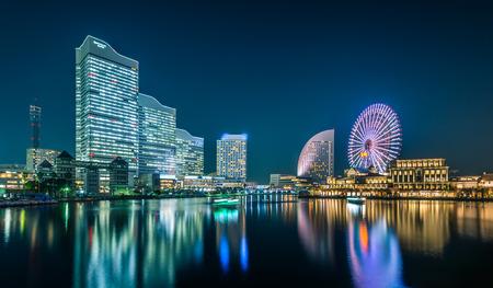 minato: Night view of Yokohama Cityscape at Minato Mirai waterfront district.