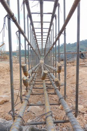 standard steel: Steel tie work at construction site Stock Photo