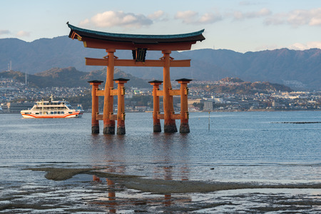 The Itsukushima floating Torii Gate off the coast of the island of Miyajima, Hiroshima, Japan.