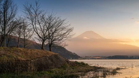 Lake kawaguchiko and Mountain Fuji with clouds in sunset