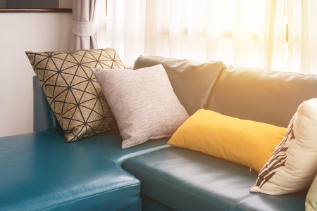 Yellow Leather Sofa Modern Living Room With Green Leather Sofa And Pillows  In The Morning