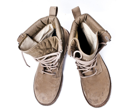 americal: Army Boots on White Background