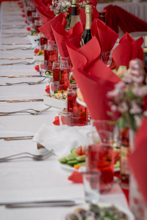 holiness: Festive table setting in red tone on room background