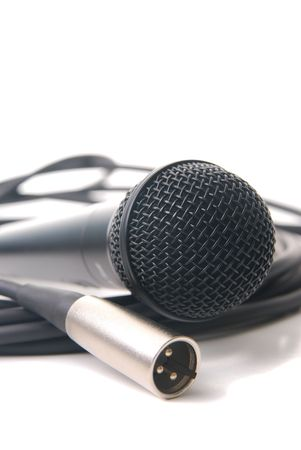 microphone and cable isolated on a white background. Stock Photo