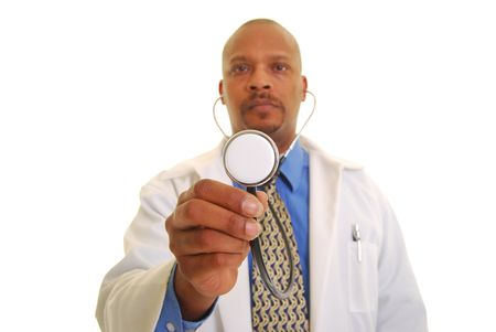 Doctor holding stethoscope isolated on white, focus on stethoscope.