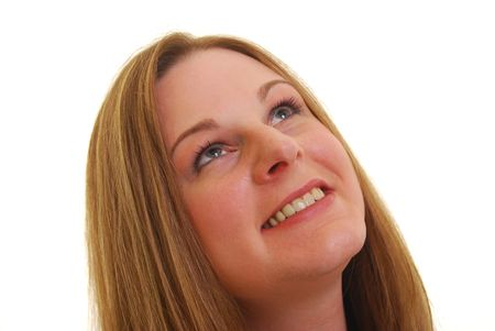 Caucasian woman smiling  and  looking up, isolated on white.   Stock Photo