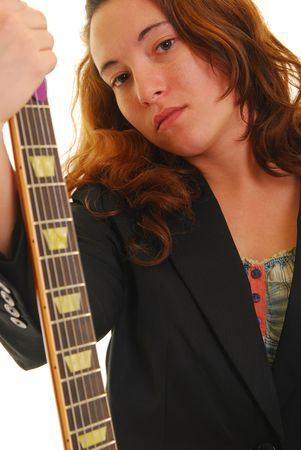woman holding a guitar, isolated on white.
