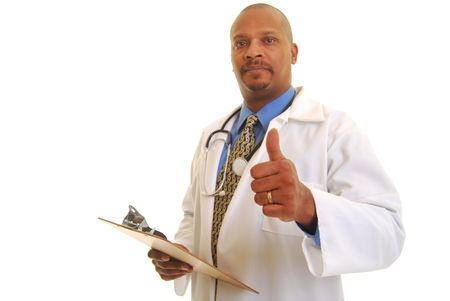 African American doctor holding clip board isolated on white.