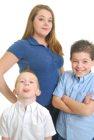 Caucasian mother with children isolated on white.