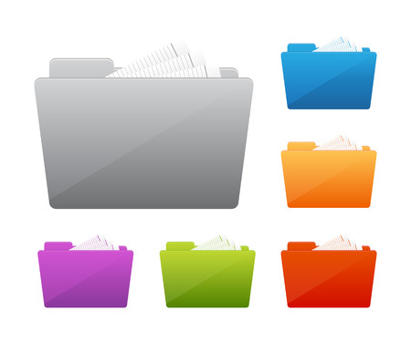 Collection of file folders Иллюстрация