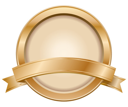 Bronze label with ribbon Vector