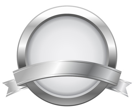 Silver label with ribbon