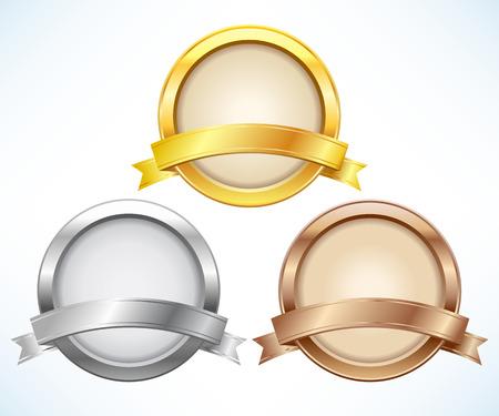 Złote, srebrne i brązowe etykiety ze wstążką Ilustracje wektorowe