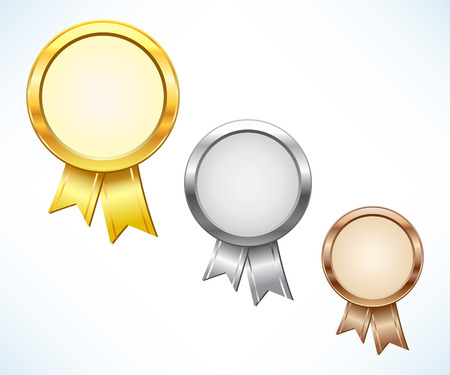 Gold, silver and bronze award Vector