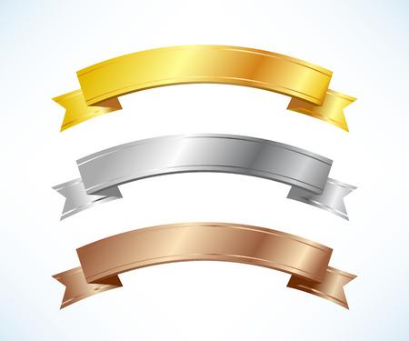 금은, 동메달 리본 세트 일러스트