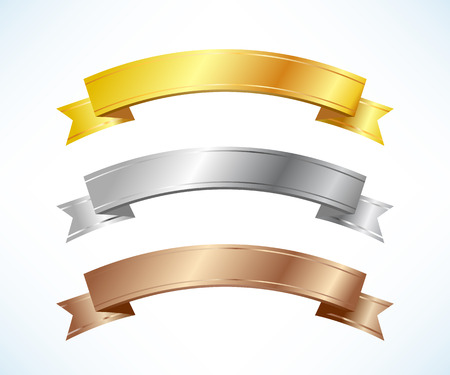Gold, silver and bronze ribbons set Vector