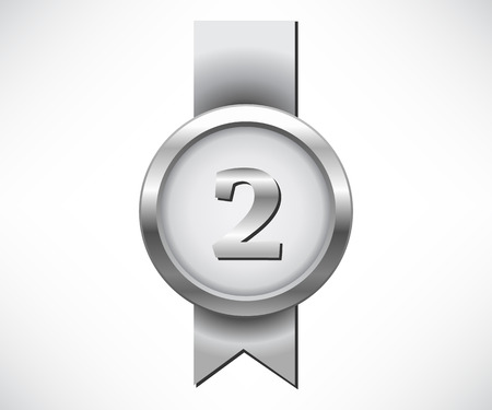 silver medal: Silver medal with number two sign