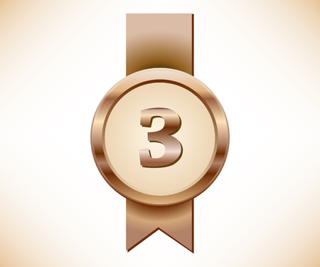 Bronze medal with number tree sign Иллюстрация