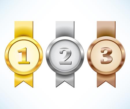 Goud, zilver en bronzen medaille met lint