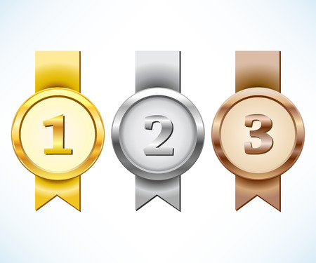 Oro, plata y medalla de bronce con la cinta Ilustración de vector