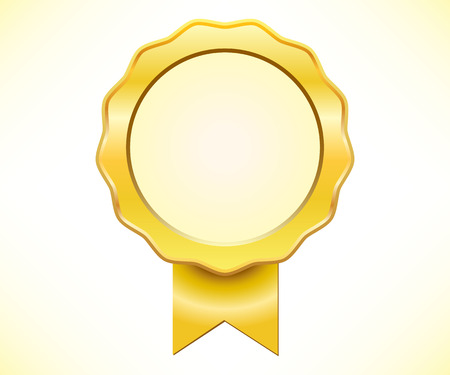 Golden seal of quality with ribbon Vector