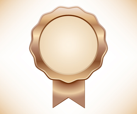 Bronze seal of quality with ribbon Иллюстрация