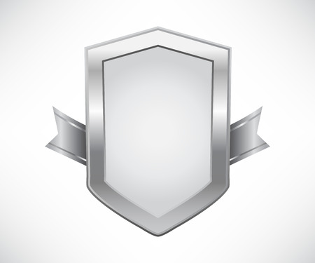 Silver shield with ribbon Иллюстрация