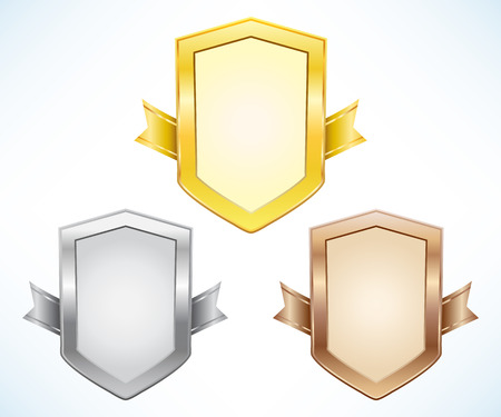 Gold, silver and bronze shield Vector
