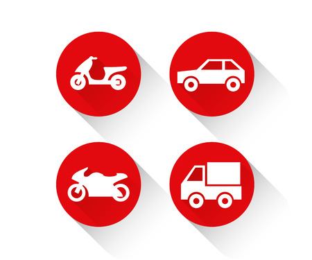 Red flat vehicle icon set Иллюстрация