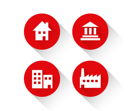 Red building icon set