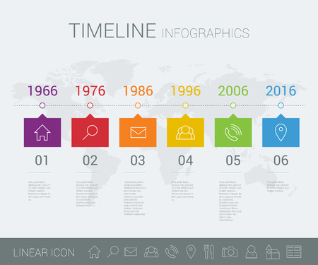 time table: timeline info graphic with world map