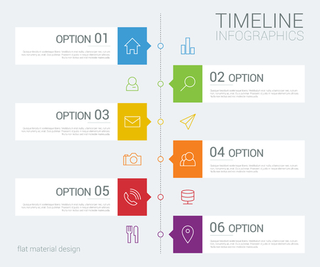 timeline info graphic with line icons