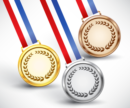 bronzed: Gold, silver and bronze award medals