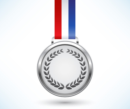 silver medal: Silver medal with tricolor ribbon