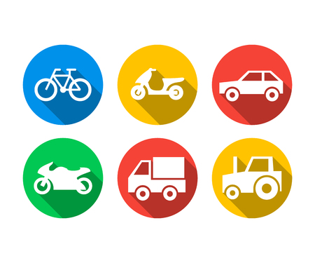 Flat icon set of transport vehicles Иллюстрация