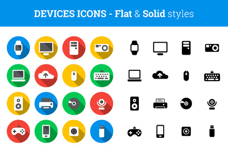 Devices and technology icon set � flat and solid style
