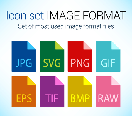 Set of image file type icons