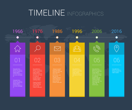 Horizontal vector timeline info graphic with line icons Иллюстрация