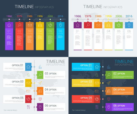 Horizontal and vertical vector timeline info graphic with line icons