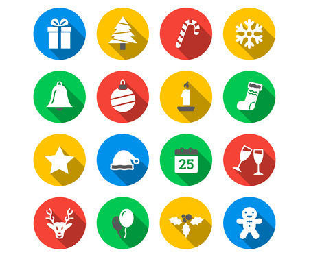 Flat icon set of Christmas Иллюстрация