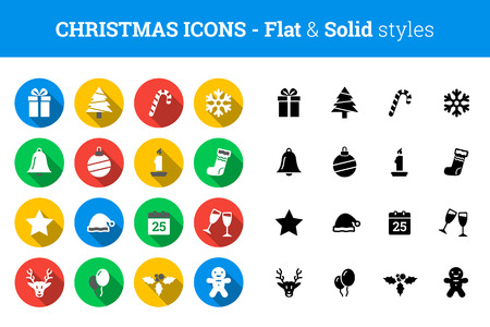 Christmas icon set – flat and solid style Иллюстрация